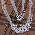 Горячий новый шестью полосами Песок шарик ожерелье 925 серебро 17-дюймовый ювелирные изделия N001 бесплатная доставка