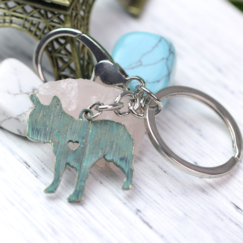 French Bulldog Llaveros Cartoon Animal Dog Keychain Animal Shape Silver Tone Metal Luxury Holder Keyring A030