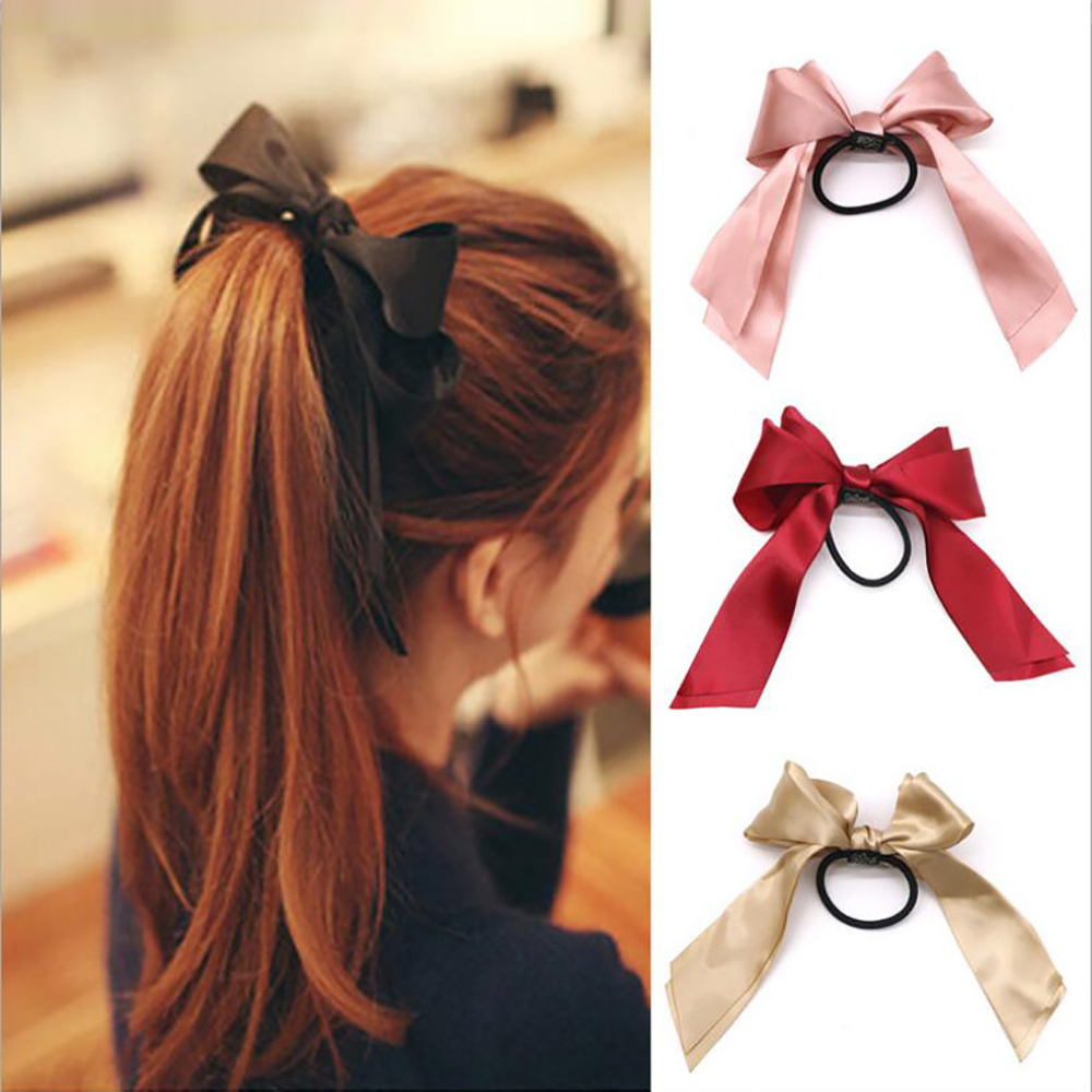 1Pc Women Rubber Hair Bands Tiara Satin Ribbon Bow Rope Hair Scrunchies For Girls Elastic Ponytail Holder Gum Hair Accessories