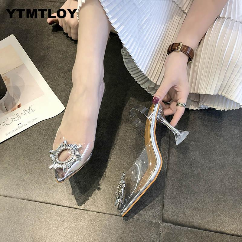 Luxury  Women Pumps 2019 Transparent High Heels Sexy Pointed Toe Slip-on Wedding Party Brand Fashion Shoes For Lady  PVC 5