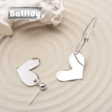 S925 Silvery Lovely Maiden Heart Exaggeration European Style Personality Asymmetric Love Heart Earrings Ear Ring ZC080