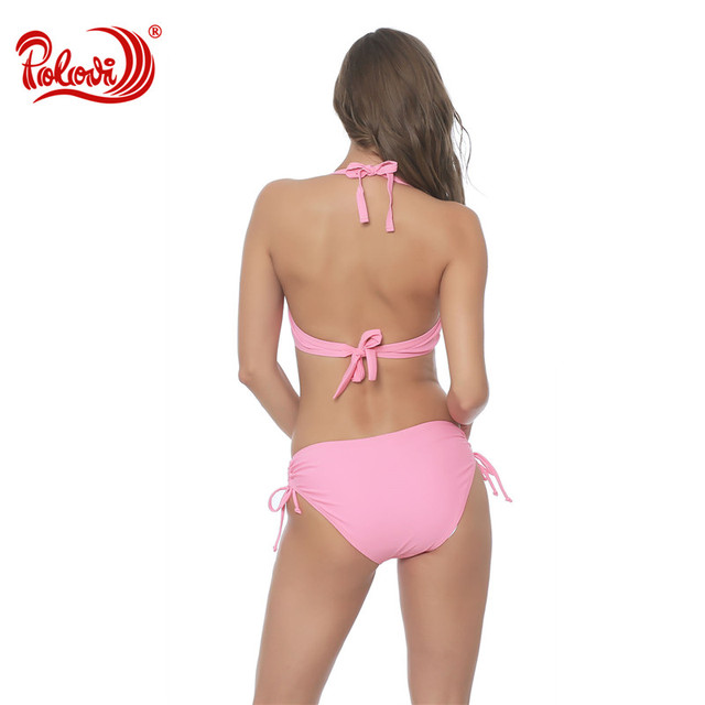 Polovi 2017 Sexy Hot Ruffled Bandeau Thong Biquini Strappy Swimsuit Swim Wear Bathing Suit Swimwear Women Brazilian Bikini