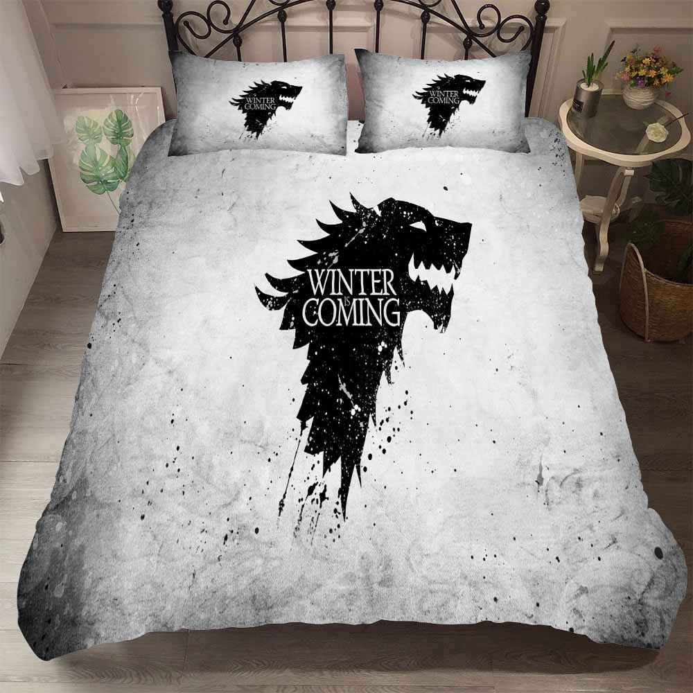Game Of Throne Duvet Cover Set 3D Ice Wolf The North Kingdom Winter Coming Printed Gray/White Boys Bedding Set 3PCS+2 Pillowcase
