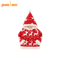 Pureborn Christmas Deer Winter Coveralls Tops Coat 2017 Baby Girl Boy Clothes Autumn Winter New Year