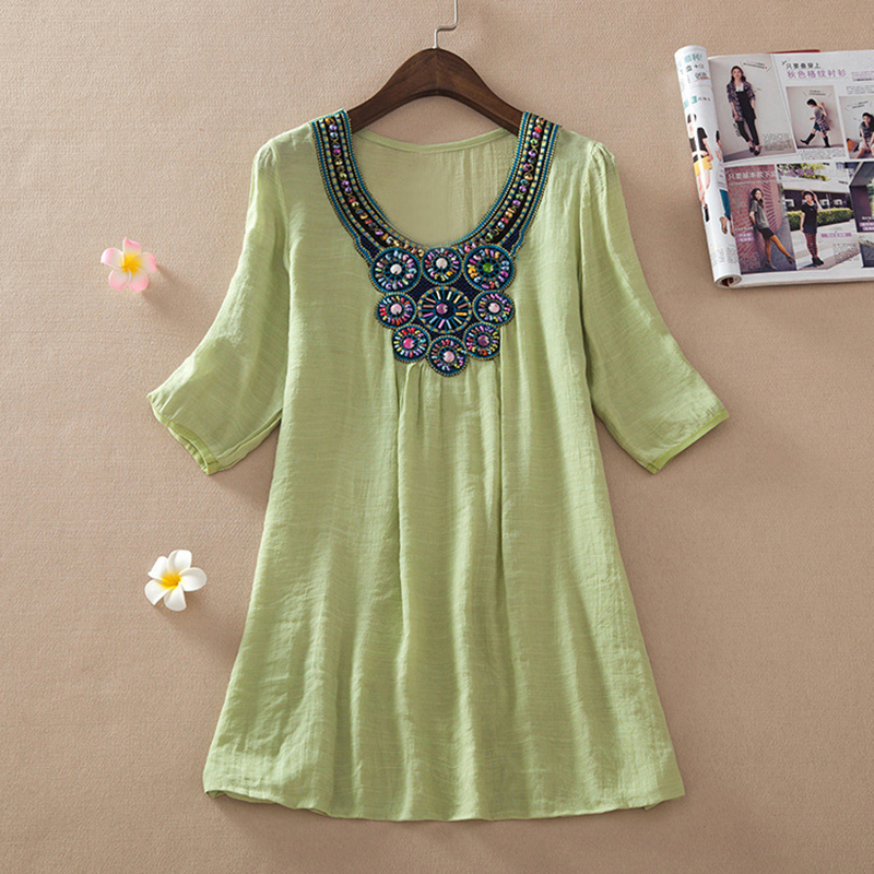 c552699944c77b Plus Size Ethnic Embroidery Beading Ladies Tunic Tops Casual Beach Kimono  White Cotton Blouse Women Shirts-in Blouses & Shirts from Women's Clothing  on ...