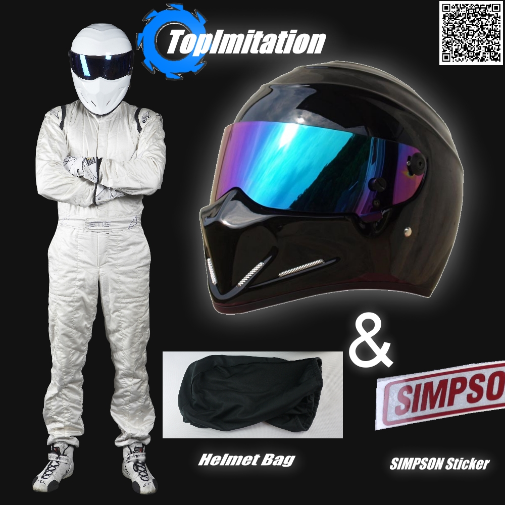 цена на Top Gear The Stig Helmet / Motorcycle Motor bike Carting Racing Helmet / Black Color & Coloful Visor Helmet + SIMPSON Sticker