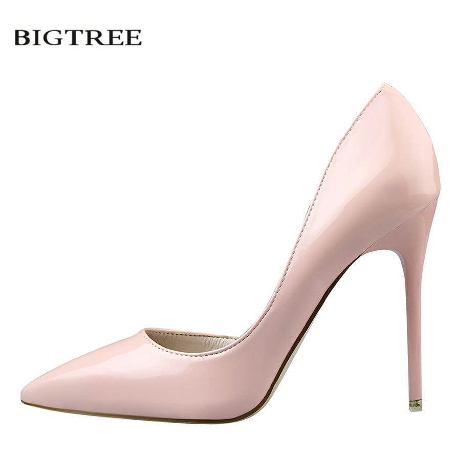 BIGTREE Summer Women Pumps Fashion Patent Leather Pointed High Heel Shoes Shallow Pointed Sexy Thin High-heeled Shoes OL G638-5 p23128 women patent leather thin heel pumps elegant pointed head stiletto fashion simple style ladies heeled shoes size 33 42