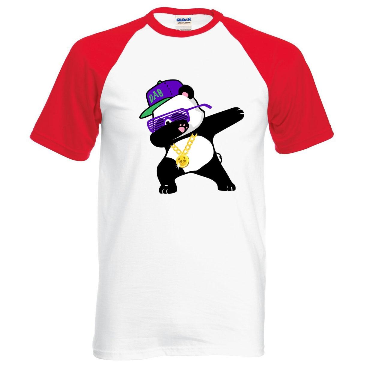 Panda Animal Print Men Raglan T Shirt 2019 Summer 100% Cotton Short Sleeve Men T-Shirts Loose Fit Style Casual Punk Tops Tees