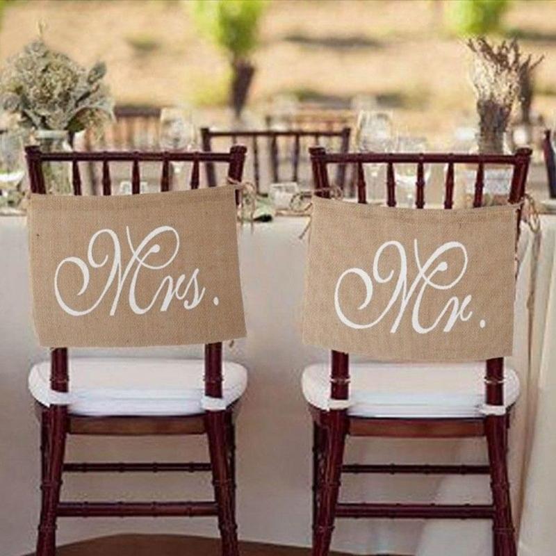 1 пара мистер и миссис мешковины стул баннер набор деревенский стул знак гирлянды Винтаж Свадебная вечеринка украшения аксессуары WED8555