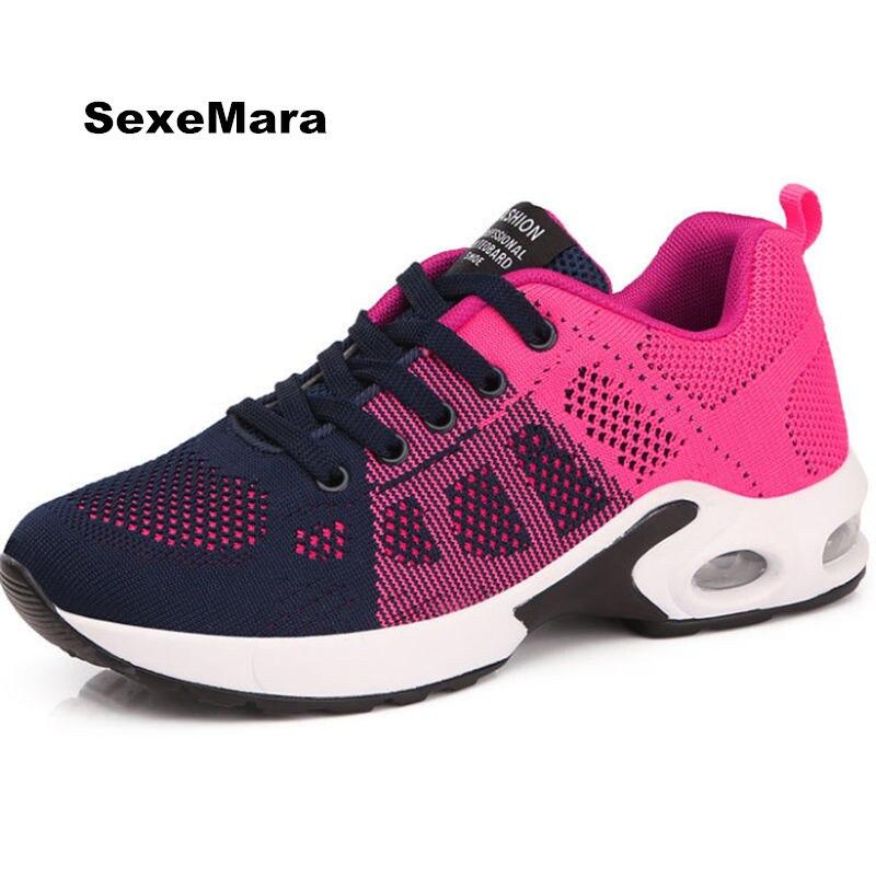 20107 Women sneakers mesh Casual shoes Women Flat platform shoes Air damping fashion zapatillas mujer tenis feminino EU 35-40