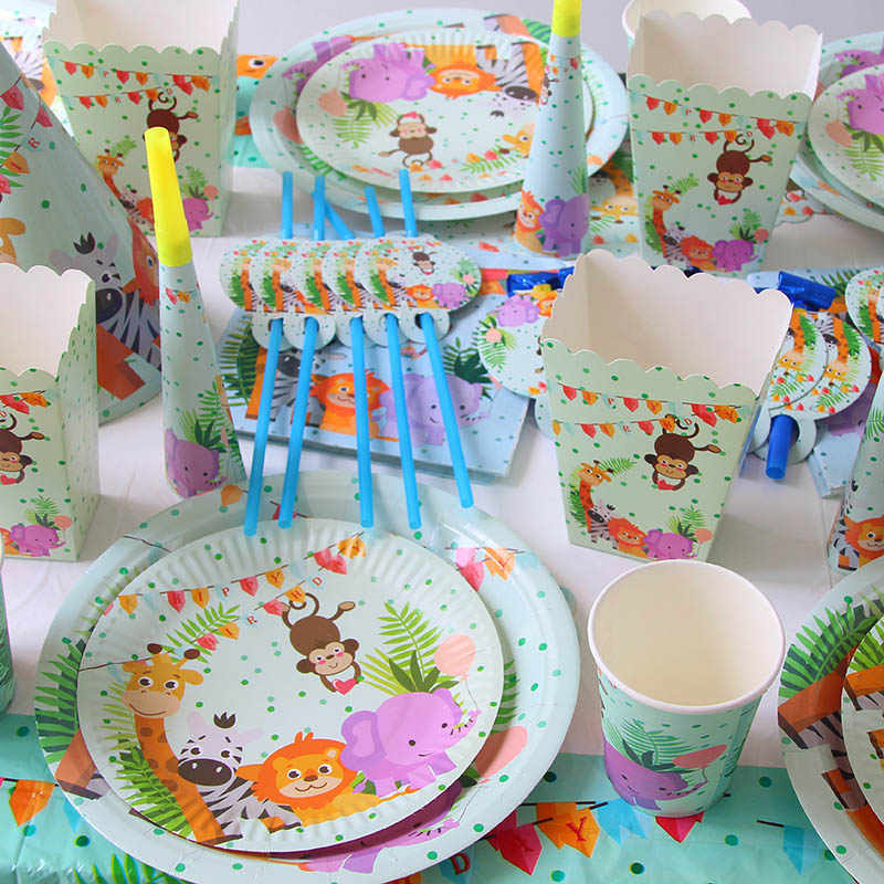 Jungle Birthday Party Disposable Tableware Jungle Animal Disposable Plates Cups Napkins Safari Decor Baby Shower Supplies