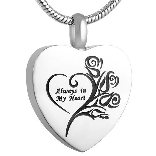 4 Colors Always In My Heart Urn Pendant Fashion Women Necklace Cremation Jewelry for Mom Wholesale