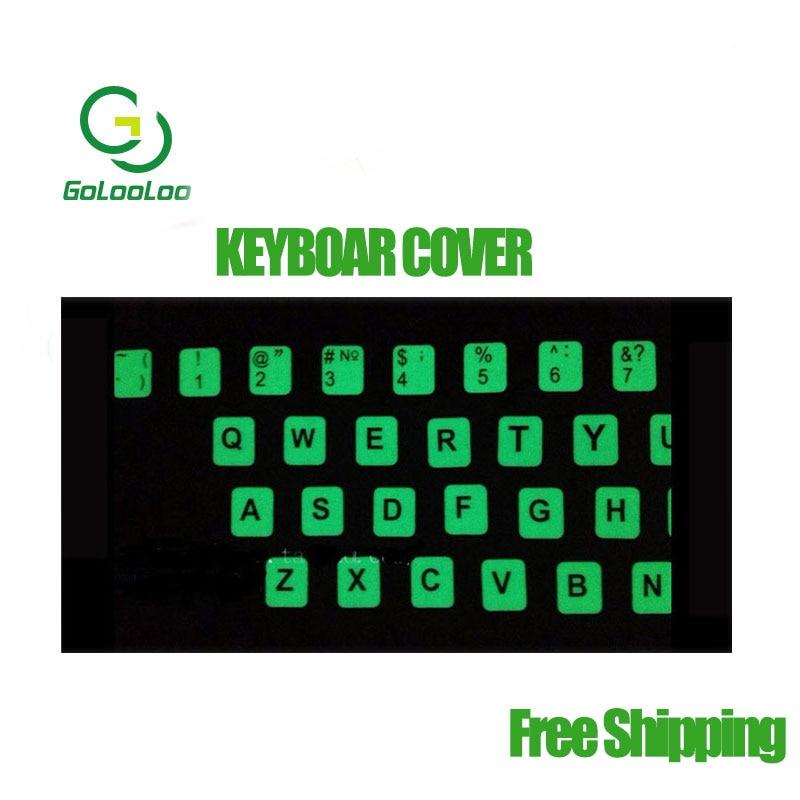 Adesivo notebook laptop teclado Inglês carta Fluorescente Luminosa adesivos cobrir nightlight
