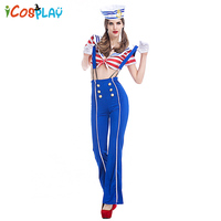 European and American suspenders long skirt navy suits foreign trade game uniforms elegant bell bottom pants female sailor suit