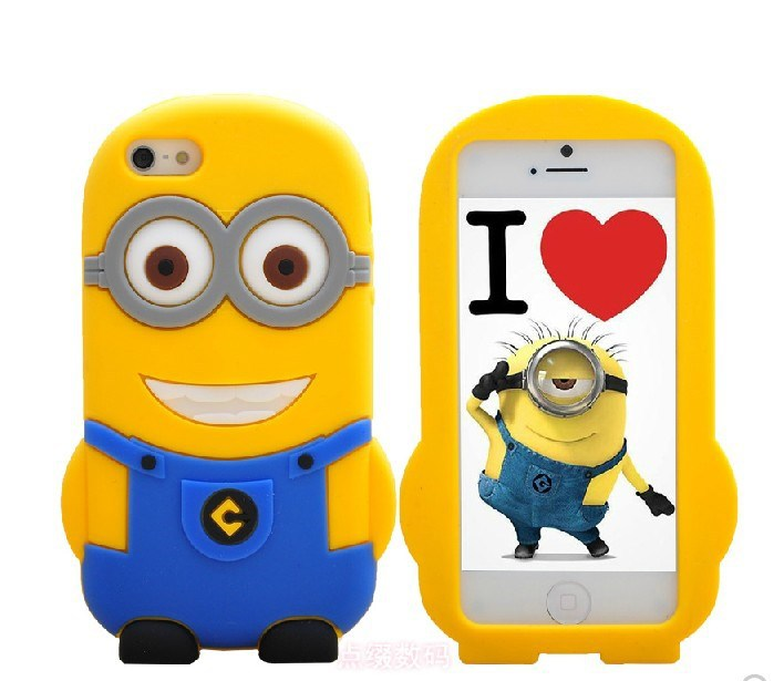 buy popular 881c1 678e2 US $180.0 |3D Despicable Me2 Minions Cartoon Cute phone case cover for  iphone 4s 5c Minions Shape Soft Silicone Case Cover Free shipping on ...