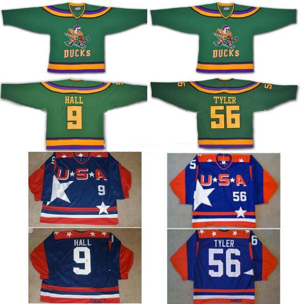 Anaheim Mighty Ducks Jersey 56# Russ Tyler/9# Jesse Hall Jersey Team Usa Hockey Sport Jersey Custom Any Name NO.Swen on 5XL 6XL