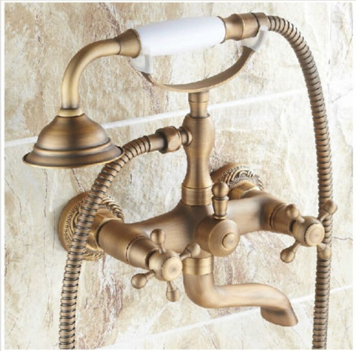 Antique Brass Wall Mounted Clawfoot Shower/ Tub Mixer Faucet Dual Cross Handles antique red copper handheld shower head bath tub mixer tap wall mounted bathroom dual cross handles faucet wtf803