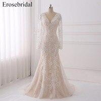Elegant Mermaid Wedding Dress 2018 Erosebridal Lace Wedding Dresses Long Sleeve Bridal Gowns Plus Size Scoop Vestido De Noiva