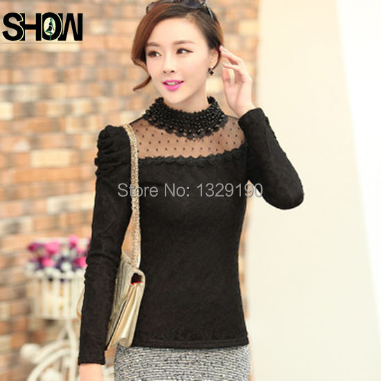 Popular Black Lace Turtleneck Shirt-Buy Cheap Black Lace ...