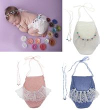 Newborn Photography Props Mohair Pearl Headband and Pants Set Baby Photo Accessories
