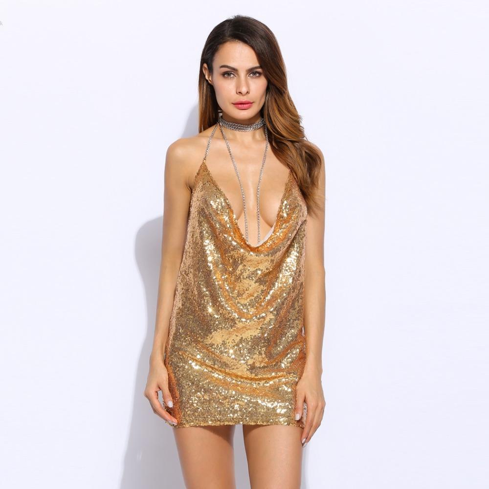 HTB1Vl1PPpXXXXaPXVXXq6xXFXXXf - Women Sexy Spaghetti Strap Sequined dress sparkly halter backless metal club party dresses 3 Colors PTC 336