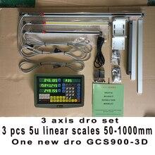 Hxx уци полный комплект/комплект gcs900-3d цифровой дисплей и 3 шт. 5u линейный стеклянные весы/датчик/датчик 50-1000 мм для машины