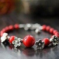Shamballa 팔찌 붉은 산호 구슬, 수제 크리스탈 국가 추세 액세서리 새로운 패션 빈티