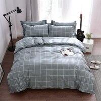 2017 IvaRose Gray plaid bedding sets linens cotton Queen King Size duvet cover+bedsheet+pillowcases