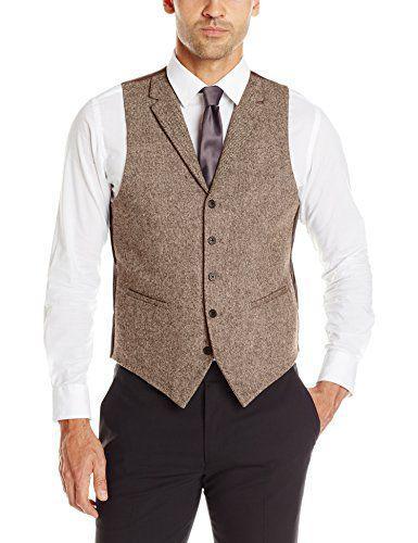 2019 marron tweed gilets cran revers style britannique sur mesure hommes costume tailleur slim fit Blazer costumes de mariage pour hommes grande taille