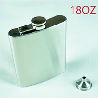 Hip Flask Stainless Steel 18OZ Flagon 510ML Wine Bottle Portable Pocket Flagon 1 Mini Funnel With