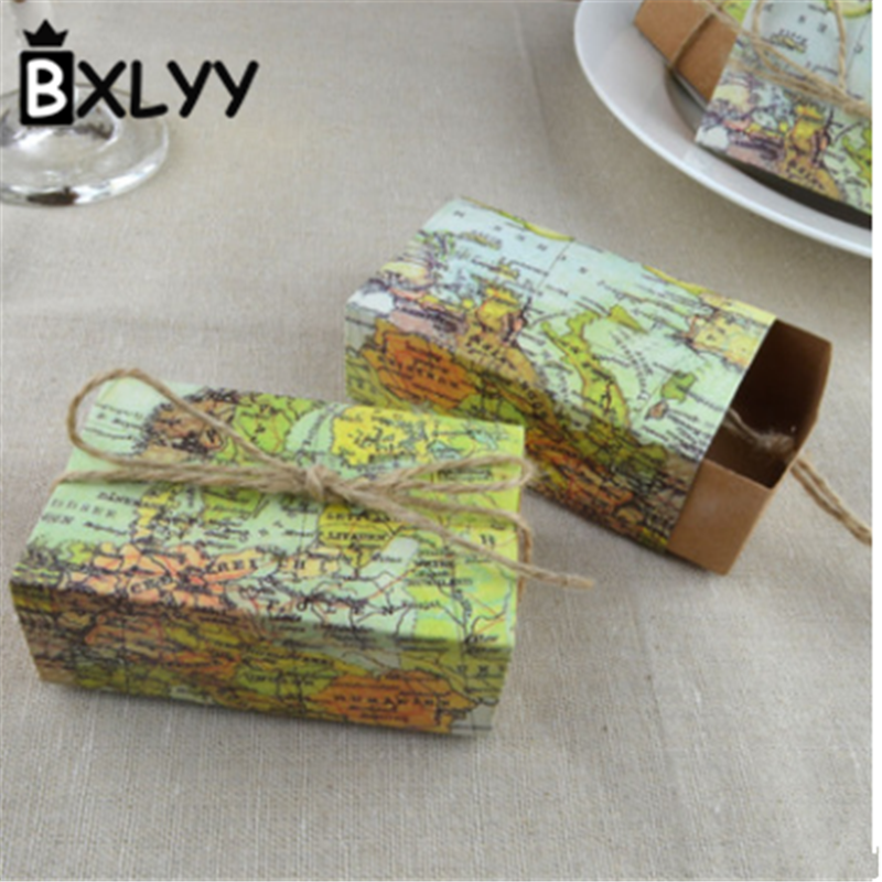 BXLYY 2019 Hot 5pc World Map Candy Box DIY Wedding Gifts for Guests Easter Decor Gift Box Wedding Decor Candy Box Baby Shower.8z image