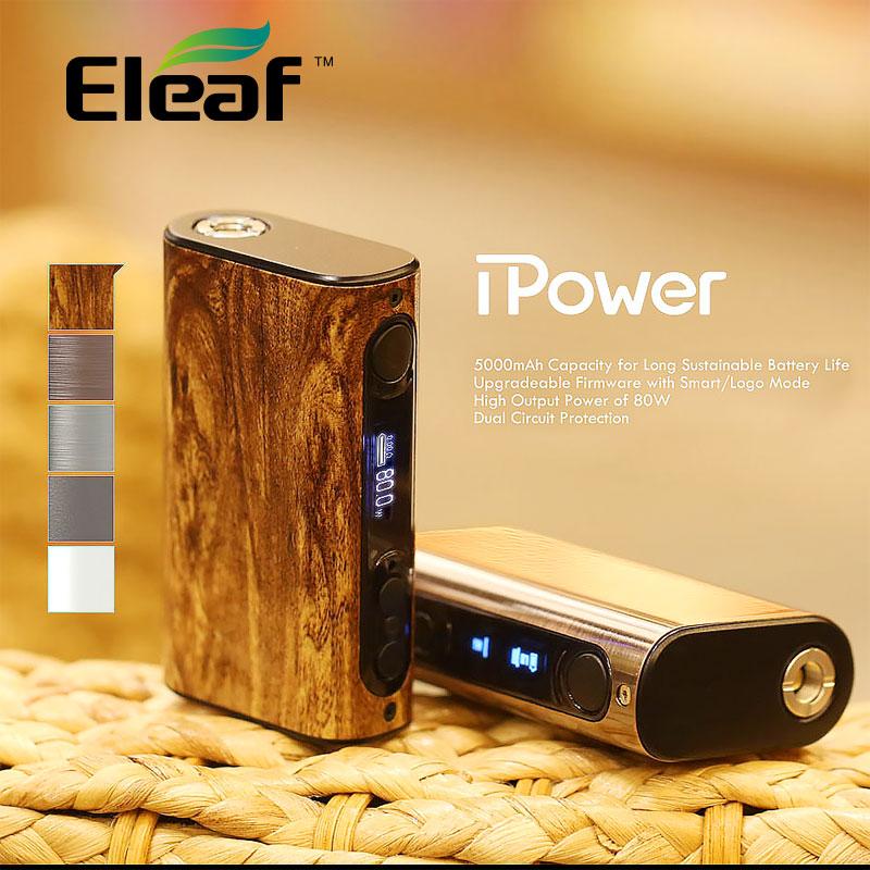 100% Original Eleaf iPower 80W MOD with 5000mah Built-in Battery Temperature Control Box Mod new firmware Smart mode Vaporizer mx3 battery 3 battery m351 m355 phone b030 original built in battery
