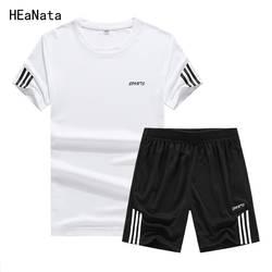 Спортивный костюм Для мужчин шорты лето брендовая мужская футболка с принтом букв спортивный костюм комплект 2019 модный костюм мужские