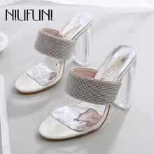 Fashion Transparent Crystal Rhinestone Womens Sandals 2019 Summer New Sexy Slippers Super High Heels Thick Heel Ladies Shoes