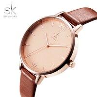 Shengke Top Brand Fashion Ladies Women Watches Elegant Female Quartz Clock Thin Leather Strap Lady Watch