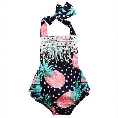 Adorale Newborn Infant Baby Girls Floral Romper Jumpsuit Outfit Playsuit Sunsuit Cotton Belt Clothes
