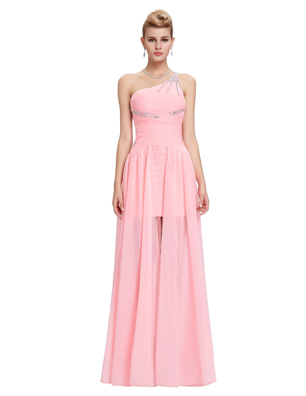 Light Pink Bridesmaid Dresses Grace Karin Beaded Chiffon One Shoulder Formal Gowns Short Front Long Back Wedding Party Dresses 5