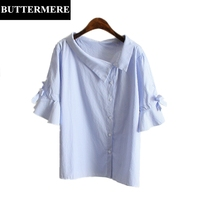 BUTTERMERE Plus Size Women Clothing 4XL Irregular Bow Tie Blouse Butterfly Sleeve Striped Shirt Blue Elegant