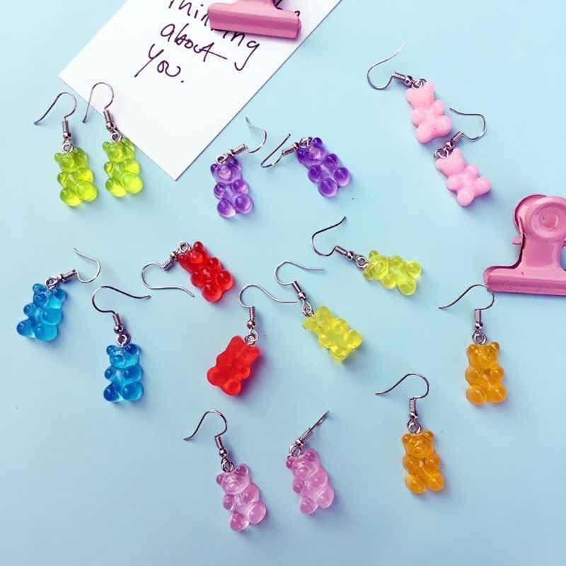 Женские серьги, женские крючки для ушей, Висячие ювелирные изделия, подарок, креативные милые мини-серьги с мишкой, минимализм, мультяшный дизайн