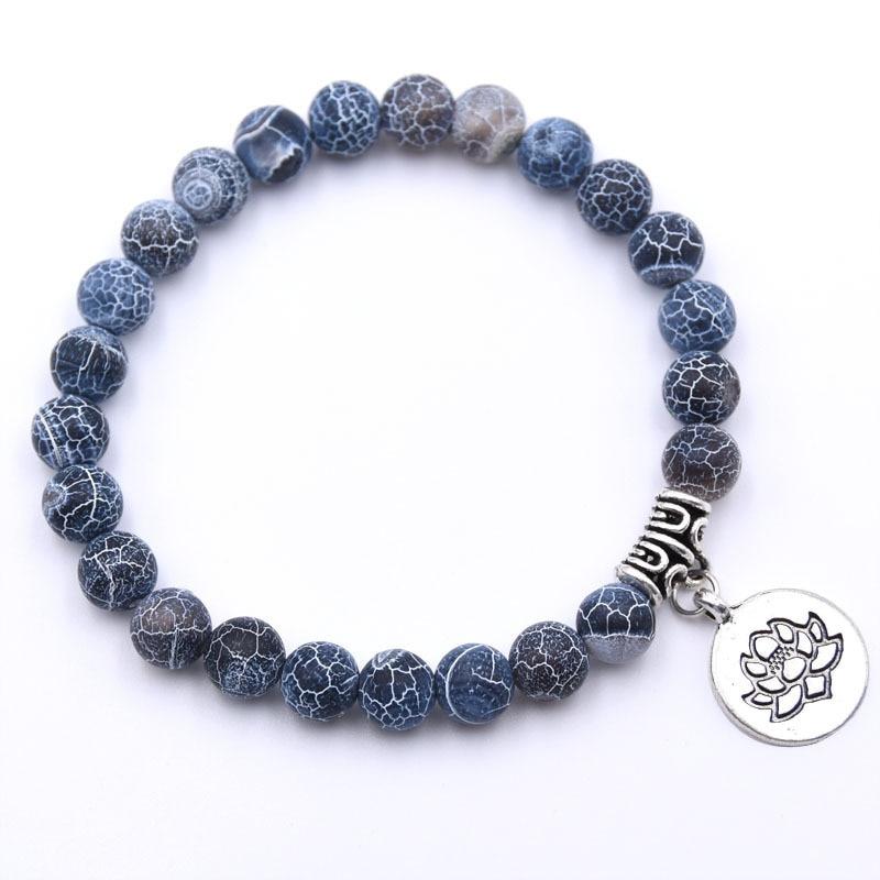 Natural Stone Lotus Buddha Beads Bracelet Matte Amazonite Mala Beads bracelets bangles For Women Men Yoga bracelet femme homme 13