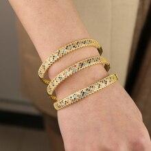 Bracelet Boho 18 19cm large bande ouverte de style Boho 18 19cm, arc en ciel pavé, plaqué or