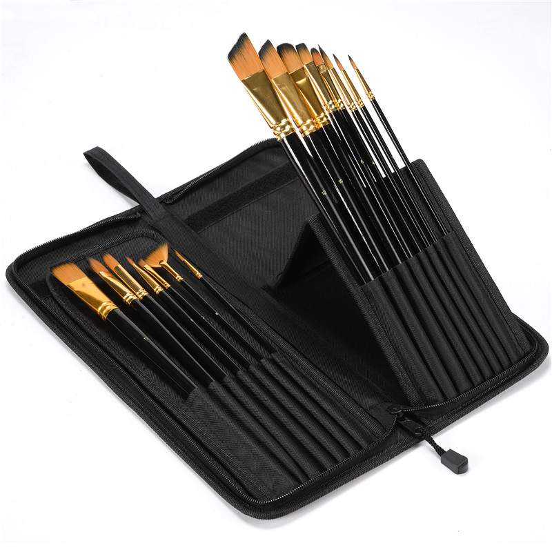 CONDA 15Pcs Art Brush Set With Carrying Black Case for Watercolor Brush Oil Acrylic Drawing Painting Nylon Hair Drawing Paint 16 holes portable professional oil painting brush watercolor brush case knife paper pen case drawing set acrylic set bag only