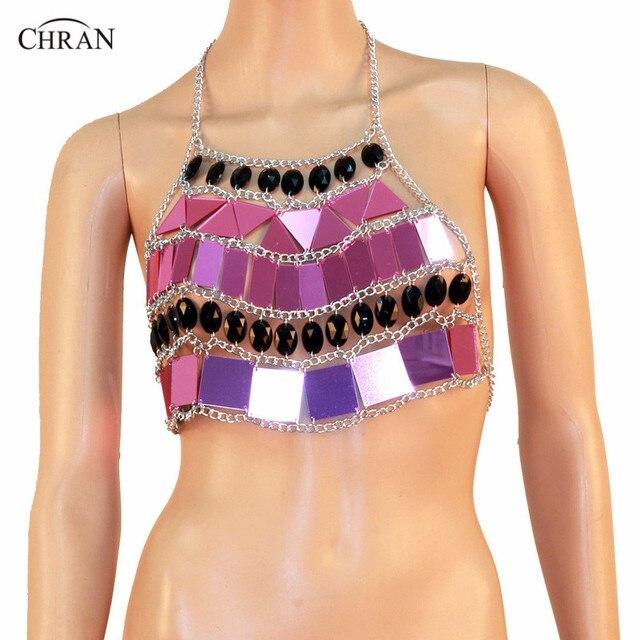 Chran Mirror Perspex Crop Top Chain Bra Harness Necklace EDC Body Lingerie Cosplay Bandeau Bralette Sonus Festival Jewelry CR802
