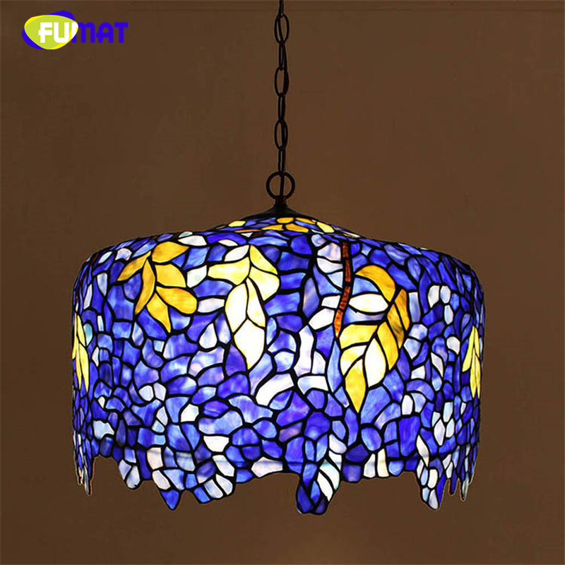 FUMAT European Wisteria Stained Glass Pendant Lights Pastoral Luxury Warm Purple Shade Lamps For Living Room LED Pendant Lamps fumat stained glass pendant lamps european style glass lamp for living room dining room baroque glass art pendant lights led
