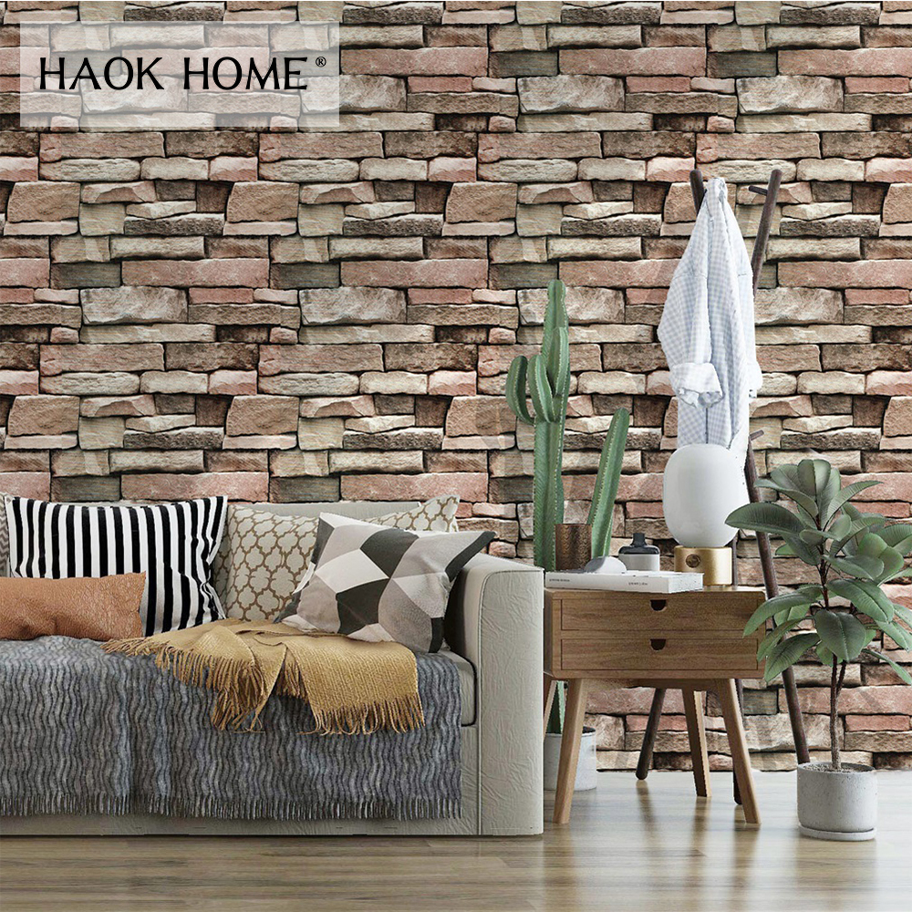 HaokHome Brick 3d Vinyl Self Adhesive Wallpaper for walls 3d Stone Textured Contact Paper For Living room Bedroom Home Decor free shipping marble texture parquet flooring 3d floor home decoration self adhesive mural baby room bedroom wallpaper mural