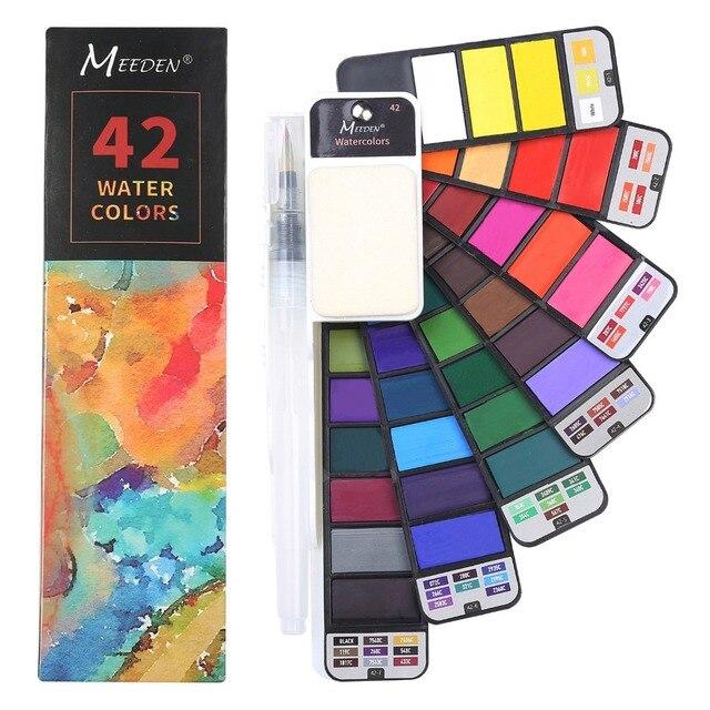 Juego de pintura de acuarela de 42 colores, juego de pintura de acuarela plegable de artista con pincel de agua para dibujo de campo al aire libre