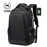 Scione Laptop Travel Backpack Men USB Charging Waterproof Classic Bagpack Women Wear Resistant Business Office Shoulder Bags