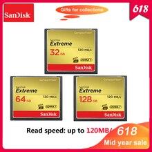 100% Original Cartão CF SanDisk Extreme 32 GB 64 GB 128 GB Cartão de Memória de Alta Velocidade de até 120 M/s cartão de memória flash Cartão CF Para Câmera