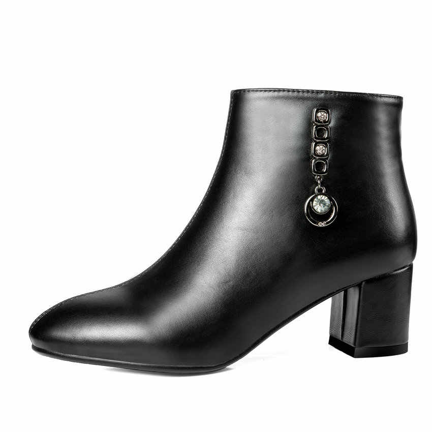 QUTAA 2019 Yeni Moda Kadın yarım çizmeler Fermuar Tüm Maç Pu Deri Kare Yüksek Topuk Kışlık Botlar Bayan Botları Boyutu 34 -43