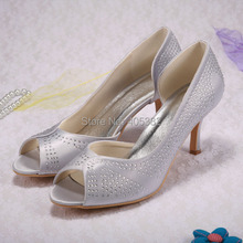 WedopusCustom 2016 Ladies Silver Crystal High Heel Bridal Shoes Peep Toes Size 10